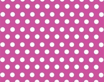 Fuchsia with white polka dot pattern craft  vinyl sheet - HTV or Adhesive Vinyl -  medium polka dots HTV1612