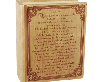 Cherry Bible Psalm 23 Wood Cremation Urn