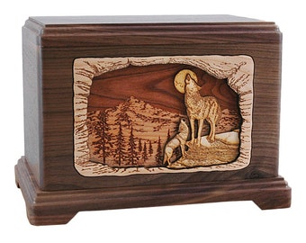 Walnut Mountain Wolf Hampton Wood Cremation Urn