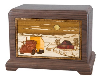 Walnut Farm with Truck Hampton Wood Cremation Urn