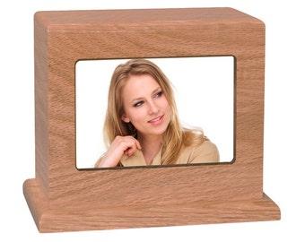 Oak Small Photo Wood Cremation Urn