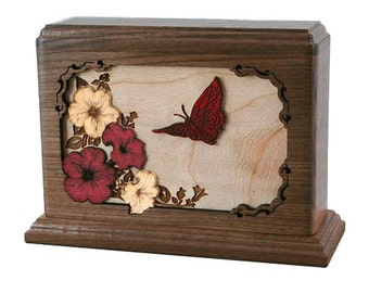 Walnut Small Butterfly Wood Cremation Urn