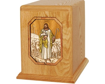 Oak Lord Is My Shepherd Companion Wood Cremation Urn