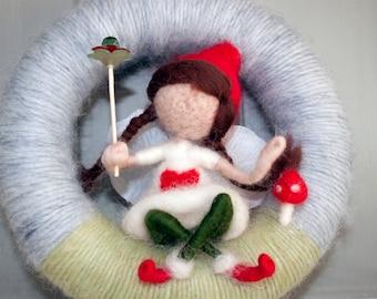 Needle felted fairy yarn wreath