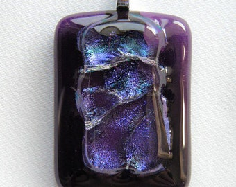 Dichroic Glass Pendant in Lavender & Periwinkle Shades Fused into Voilet Glass