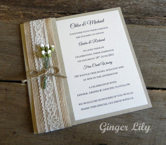 Diy Wedding Invitations Kits: Rustic Lace Wedding Invitation DIY Kit By GingerLilyWeddings