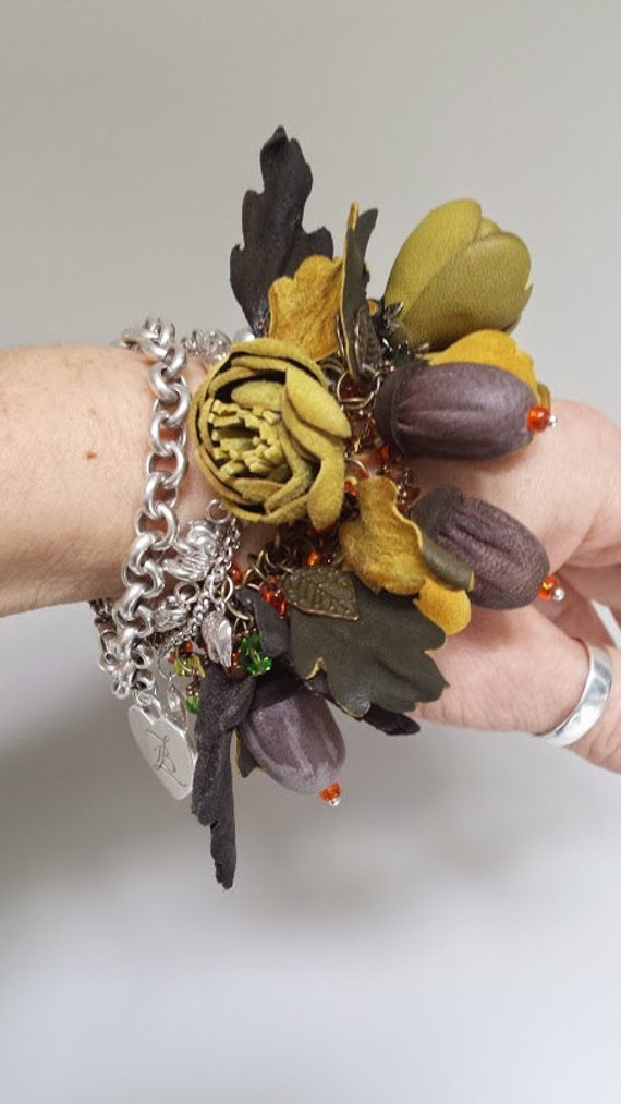 "Leather bracelet ""Autumn"""