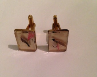 Vintage cuff links, fish hook cuff links, gold toned 70s links
