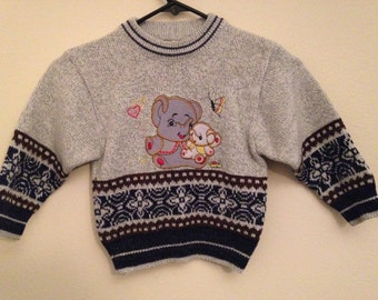 Vintage Toddler Sweater Elephants Winter Fall Season 1970s 1980s