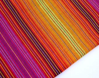 Striped Handmade(#51) Fabric from Guatemala (THICK)  - 100% Thick Cotton - Sold by yard - Suitable fabric for upholstery.