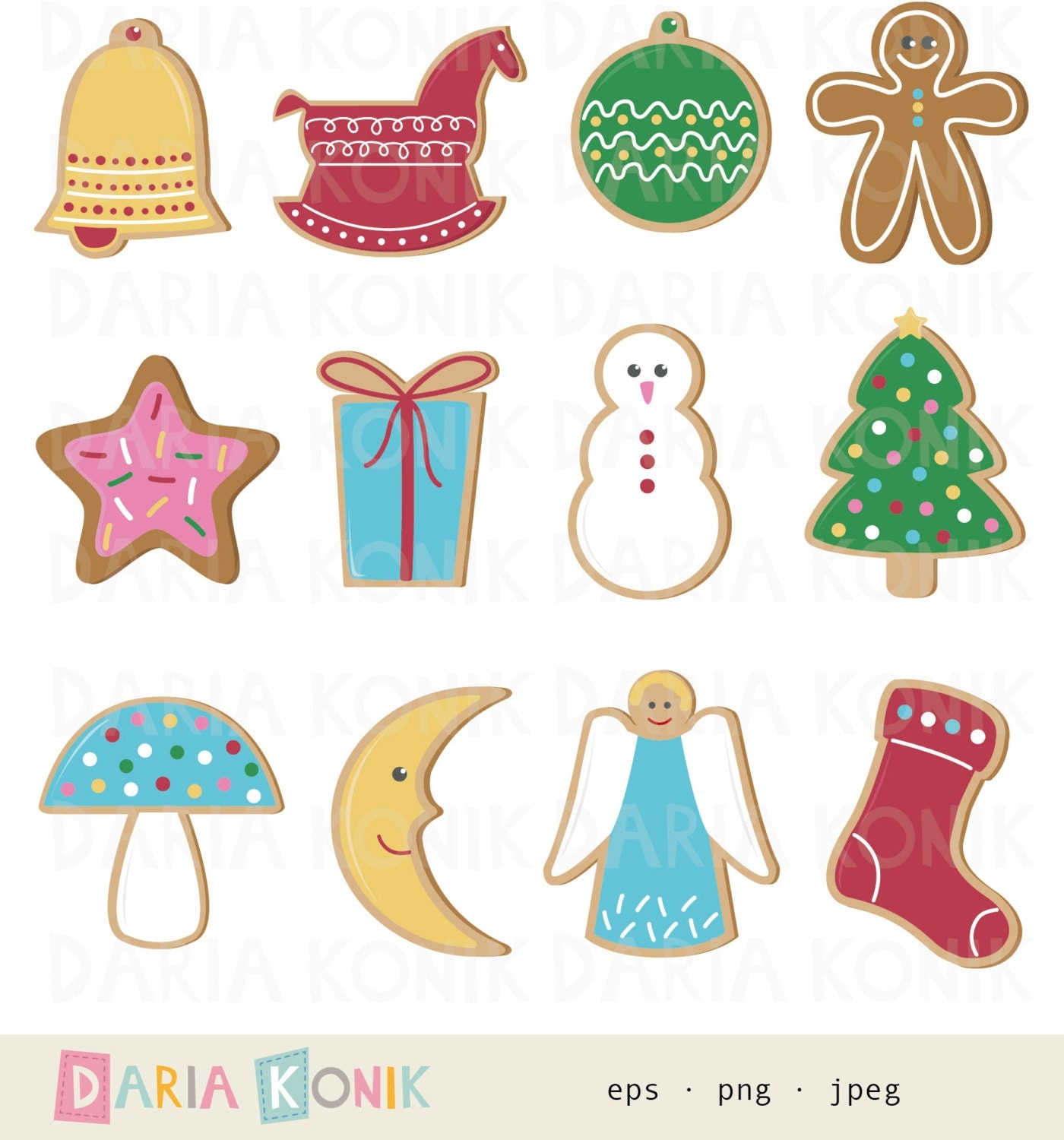 Christmas Cookies Clip Art Set Christmas Clipart Gingerbread Man