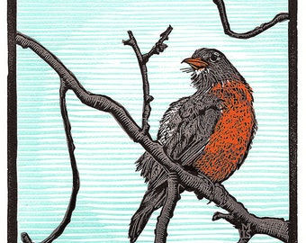 Wet Robin - limited edition letterpress linoleum print
