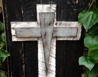 Wood Cross, Rustic, Distressed Reclaimed Wood Modern Cross