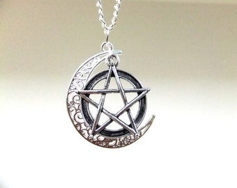 Silver Moon and Pentagram Necklace, Crescent Moon Necklace, Large Pentagram Necklace, Wiccan Necklace, Wicca Jewelry, Boho Necklace, Gift