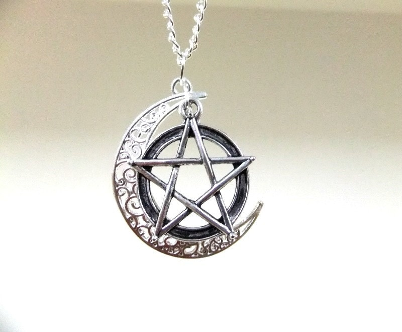 silver moon and pentagram necklace crescent moon necklace