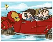 Avengers - Fanart print - Iron Man, Bucky Barnes, Steve Rogers, Phil Coulson, and Lola