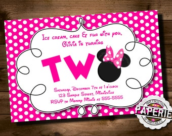 Pink Polka Dot MINNIE MOUSE Second Birthday Invitation, Minnie Mouse Party Ideas, Minnie Invitation, Pink Frosting Paperie