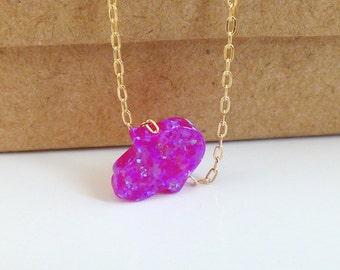 Purple Hamsa Necklace, Purple Hand Necklace, Opal Hamsa Necklace, Hamsa necklace, Hand necklace , Purple Hand Necklace.