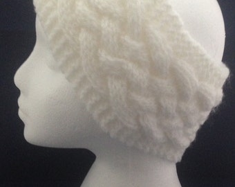 White cable headband / ear warmers