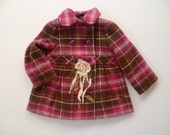 Pink & Brown Plaid Peacoat. Up-cycled Girls Winter Jacket. Shabby Chic Childrens Couture. Preppy Christmas Gift. Vintage Tattered Flower.