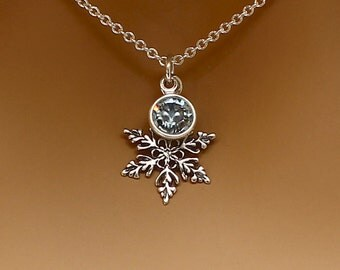 Frozen Snowflake Necklace Sterling Silver Crystal Necklace, Winter Wedding Bridesmaid Gift