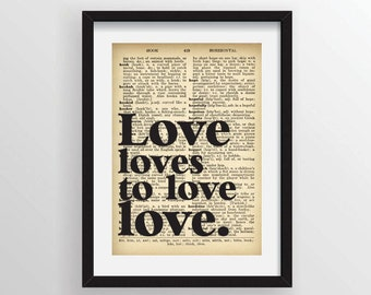 "James Joyce from Ulysses ""Love loves to love love."" - Recycled Vintage Dictionary Art Print"