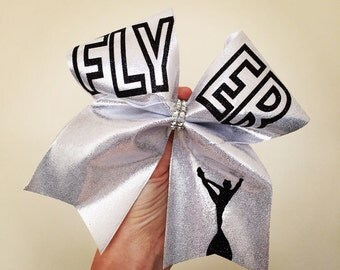 FLYER Silver spandex cheer bow