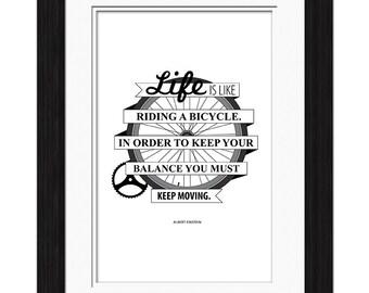 Albert Einstein Quote - Bicycle