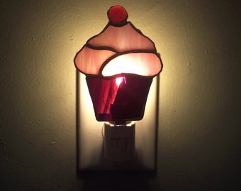 Stained Glass Cupcake Night Light
