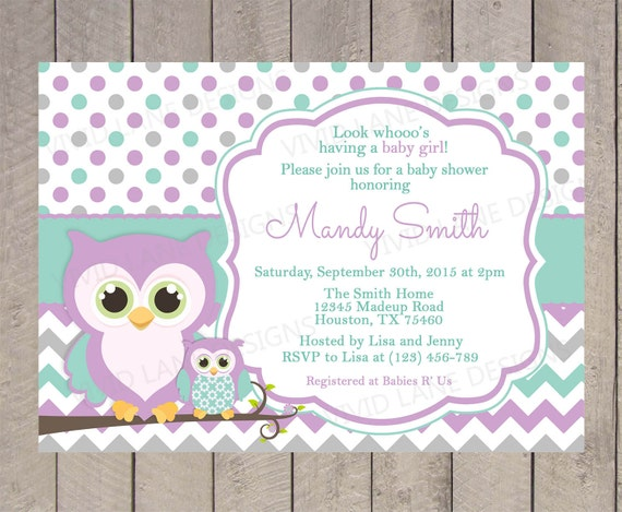 owls baby shower invitation purple teal and grey chevron polka