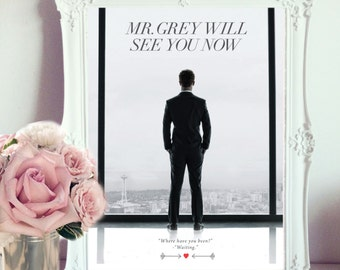 "A4 50 Shades of Grey ""Mr Grey Will See you Now"" Poster/Print, Christian Grey & Anna Steele Quote, Romance, great gift or home decor"