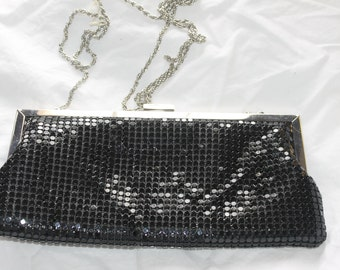 la Ragale Black Shiny Evening Dress Up Small Purse, Clutch, Could Be Either, Frame Purse, Older, Great Shape, Nice Price, Weddings, shiny