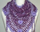 dark lilac white crochet * Road Trip * scarf, triangle scarf, fashion scarf, Boho, Gypsy, Gothic, Steampunk