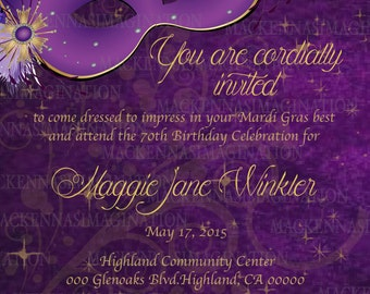 Purple Masquerade Mask Birthday Invite- DIGITAL