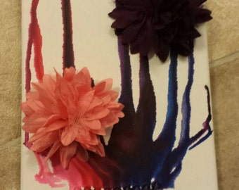 Melted crayon  flower wall decor