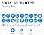 Social Media Icons Pantone Dazzling Royal Blue Instantly Download 60 Icons