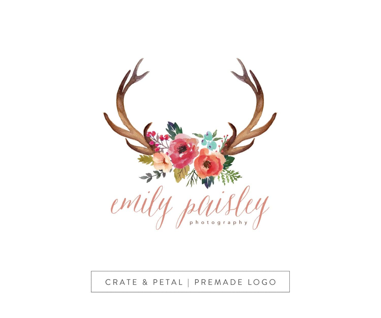 Premade Logo Design Deer Antlers Logo Vintage By CrateAndPetal