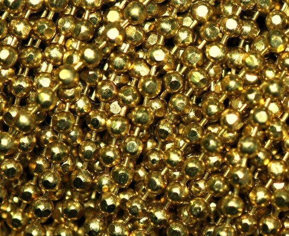 10 meter 33 feet 1,5 mm Faceted Raw Brass ball Chain with 2 connector