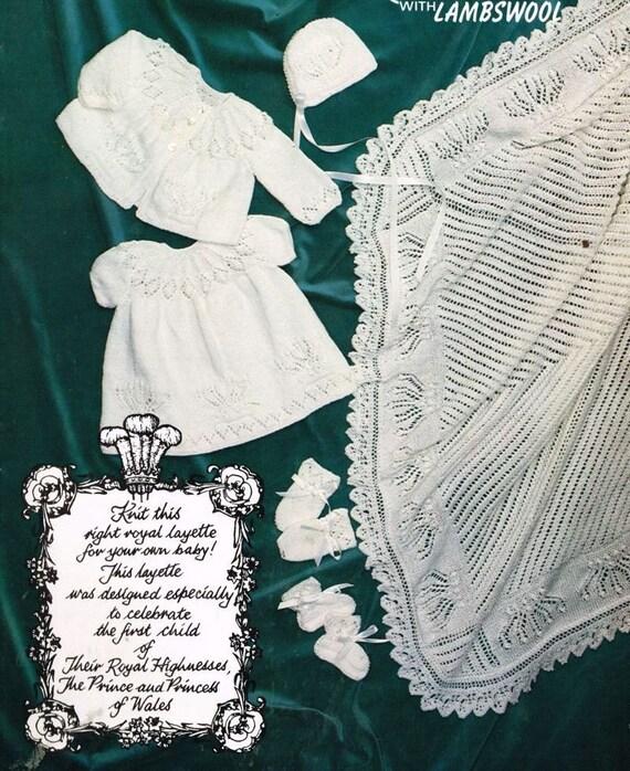 royal baby layette vintage knitting pattern incl shawl PDF