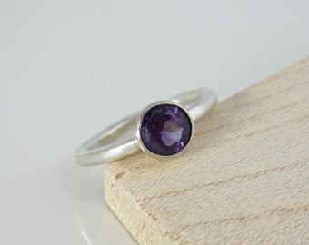 Amethyst Ring| Feburary Birthstone| Recycled 14K White Gold| Recycled Argentium Sterling Silver