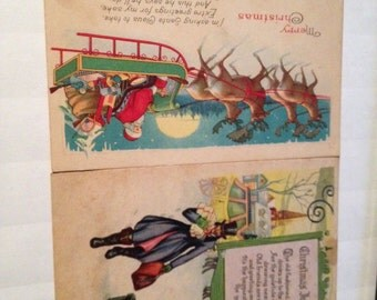 Antique 2 of Christmas post Cards made in U.S.A