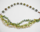 Spring's Return - Necklace Keshi Pearls and Quartz, Cat's Eye gemstone, green gold jewelry, pearl jewelry, multistrand necklace, statement