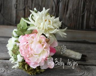 CLEARANCE**Blush Peony, Cream Dahlia Rhinestone Accented Silk Wedding Bouquet