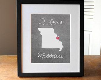 St. Louis Missouri Art, Concrete Gray State Print, St. Louis Print, Missouri Gift, State Print