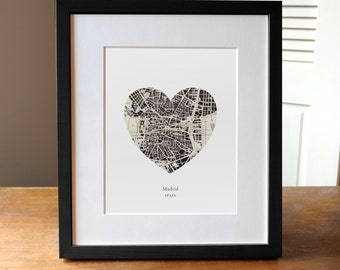 Madrid Spain Heart Print, Spain Map Print, Heart Map Print, Wedding Engagement or Anniversary Gift
