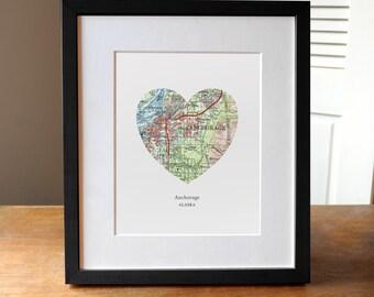 Anchorage Heart Map Print, Alaska City Print, Anchorage Art, Alaska Print, Custom City Print