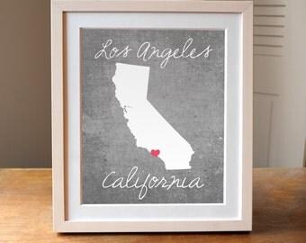 Los Angeles Art, California Art, California Print, LA print, LA art, Concrete Art, California Decor