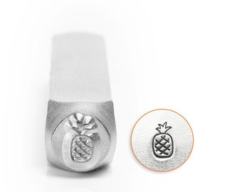 Pineapple Metal Stamp ImpressArt 6mm, Beach Stamp, Hawaiian Fruit Design Hand Tool for Stamped Jewelry, Steel Stamp
