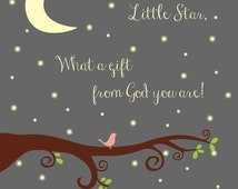 Twinkle Twinkle Little Star What a Gift from God You Are! Baptism Gift/ Baby Dedication Gift/ Christening Gift/ Baby Bird in Tree/ Pink-8x10