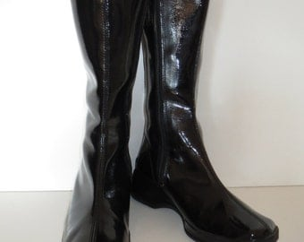 Vintage patent leather look boots fixed black Gr. 39